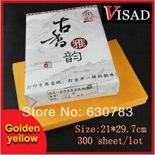 300 шт./упак. 21*29,7 см золотисто-желтый Античная A4 копировальная бумага, особый тип рисовая бумага autographic печать рисовая бумага