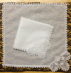 Novelty Women Handkerchiefs 12PCS/Lot 11.5x11.5White100%Cotton Lace Wedding Handkerchiefs Perfect Embroidered Hankies For Bride
