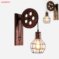 Industrial retro American wall lamp vintage lights creative pulley wrought Iron rust metal for home deco mural aisel Loft