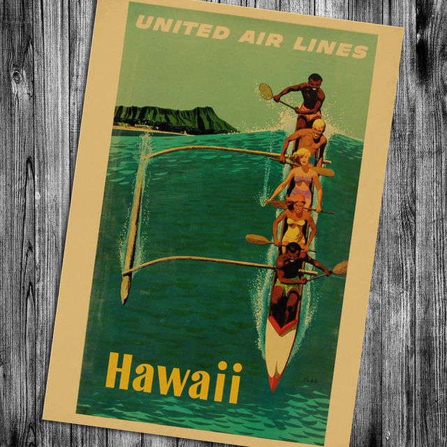 Retro Style Hawaii Kraft Paper Poster 2