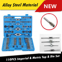 110pcs Drill  Tap & Die &AND Set Professional Imperial & Metric Set tapping thread Taper Drill Kit M2 to M18 with Blue Case