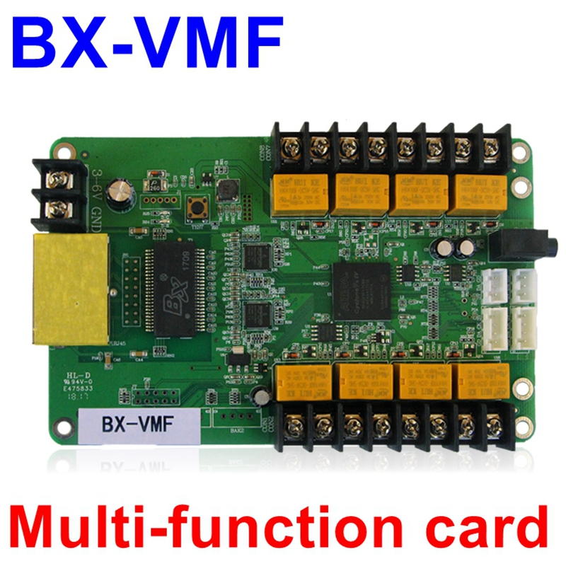 BX-VMF multi function card For Full color LED display control card temperature ,humidity ,brightness sensor ,audio support onbon player bx yq4 full color control box led display screen controller support multi language and multi area display