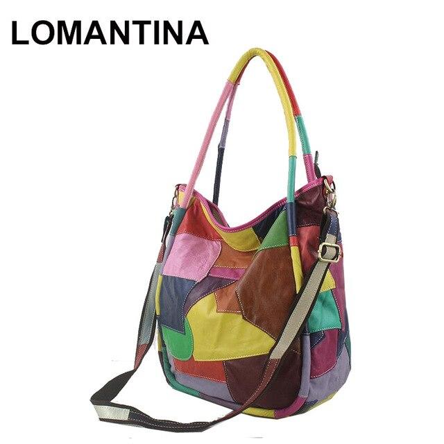 cfd67cb6e Lomantina moda marka prawdziwej skóry kobiet torebka europa i ameryka  kolorowe geometryczne Patchwork torba na co