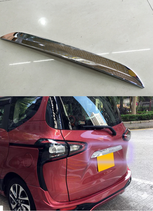 Car Accessories for Toyota SIENTA 2016 emblem tail gate trim strip,ABS chroming decorative rear door bright paillette Stickers for 2014 2015 toyota prado j150 land cruiser 150 abs chrome side door body molding trim cover door scuff strip car accessories