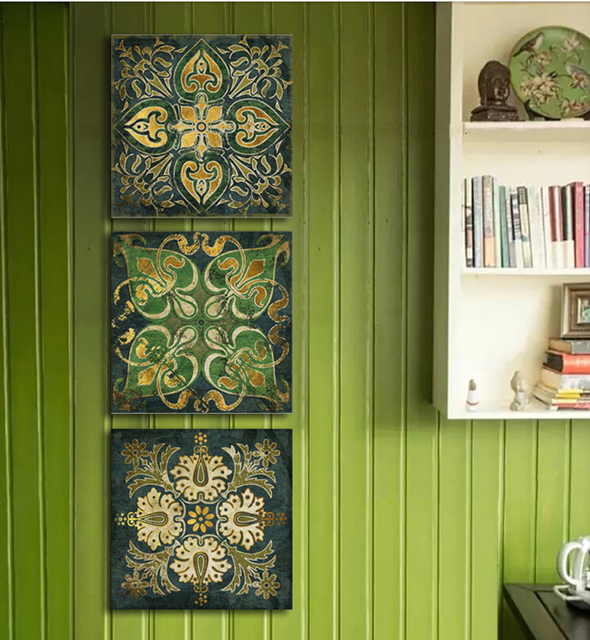 Aliexpress Com Buy 3 Piece Canvas Art Home Decoration: Aliexpress.com : Buy Emerald Indian National Pattern Retro