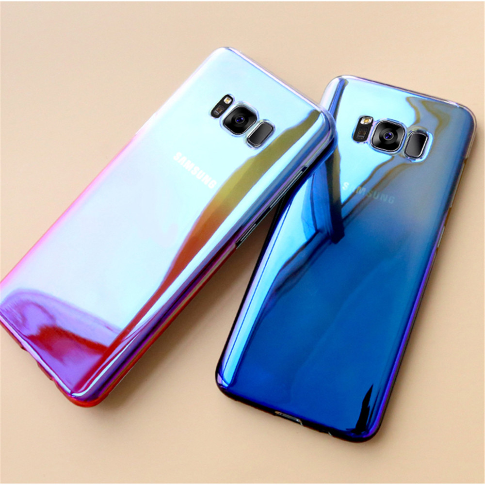 for samsung galaxy s8 plus s7 edge ultra slim lighting gradient color hard pc case cover for. Black Bedroom Furniture Sets. Home Design Ideas