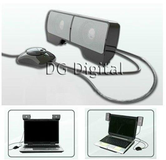 usb portable mini stereo speaker for laptop speaker system for notebook loud speaker with clip. Black Bedroom Furniture Sets. Home Design Ideas