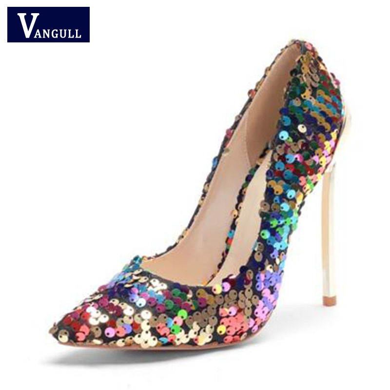 VANGULL 2018 New Arrive Women Shoes Bling Sexy Stilettos High Heels 12cm Pointed Toe Women Pumps