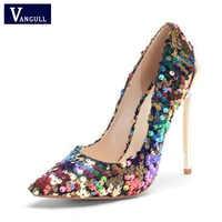 VANGULL 2018 New Arrive Women Shoes Bling Sexy Stilettos High Heels 12cm Pointed Toe Women Pumps Ladies Wedding Party Footwear