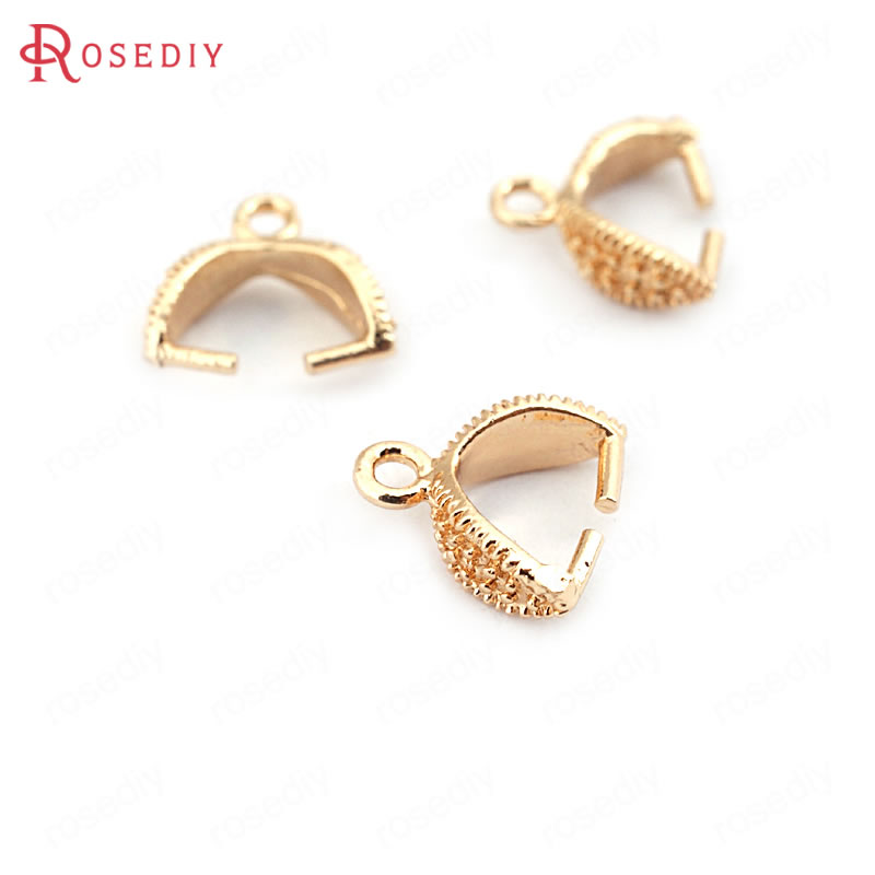 (31725)20PCS Clasp Height 5MM 24K Champagne Gold Color Plated Brass Charms Connector Pendants Clasps Beads Connector Accessories