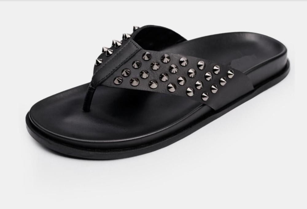 Nity letnie męskie mieszkania sandały szpilki męskie na co dzień mieszkania kapcie Mujers włoskie skórzane sandały dla mężczyzn Size44 w Sandały męskie od Buty na  Grupa 1