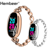 Hembeer Women Smart Watch Stainless Steel Wrist Watches Fashion Luxury Sport Pedometer Fitness Tracker for IOS Android phone