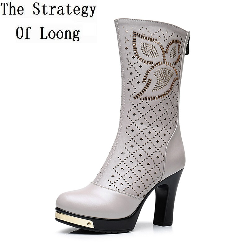Women Genuine Leather Rhinestone High Heels Cut Out Summer Mid Calf Boots Lady New Arrival Knight Mid Half Boots 20180418