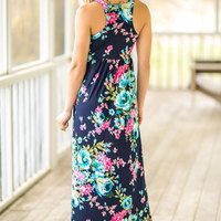 2018 VESSOS Women Max Dresses Fashion Tank Sleeve Floral Pocket Sleeveless Maxi Dress Polyester Floor-Length Navy Blue Casual 2