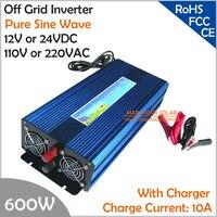 600 Вт от инвертора сетка с Зарядное устройство, surge Мощность 1200 Вт DC12V/24 В AC110V/220 В Чистая синусоида Инвертор с функцией заряда