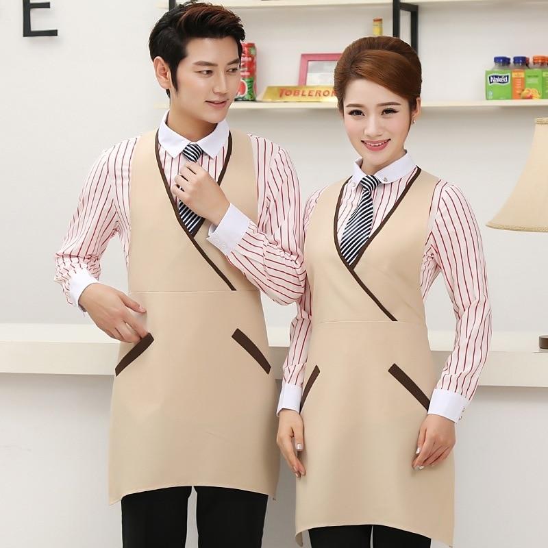 Hotel Waitress Overalls Female Long Sleeve Milk Tea Shop Uniform Shirt Restaurant Catering Fast Food Shops Waiter Jacket H2337