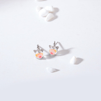 Silver Simple Moonstone Stud Earrings