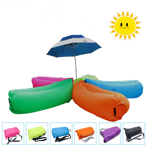 15 color Fast Inflatable Sleeping Bag Lounger Air Camping Sofa Portable foldable Beach Nylon 240T Fabric sleep Bed Lazy bag sofa creative quick inflatable laybag sleeping bag leisure hang out lounger air camping sofa beach nylon fabric sleep bed hammocks