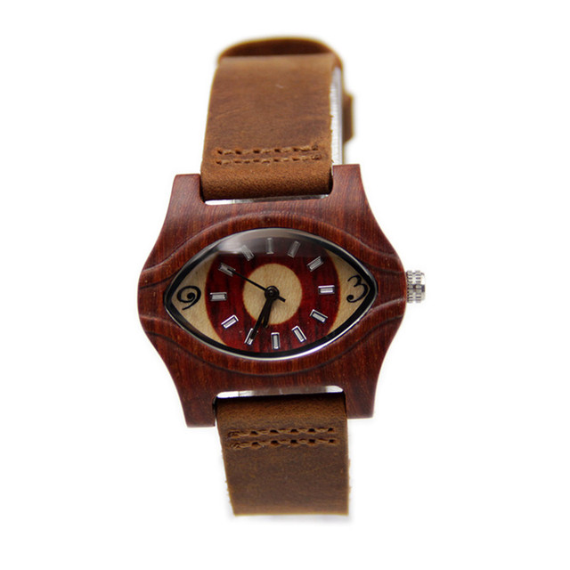 2016 Hot eyes Antique 100% Natural Red Wooden Watch For Female's Best Gift With Guniue Leather Straps  Women Wristwatches box