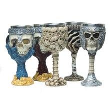 Beste Förderung 210 ml Skeleton Edelstahl Wein Becher Flasche Kopf Wodka Schuss 3D Neuheit Schädel Kopf Tasse
