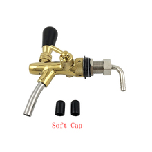 Draft Beer tap faucet, Adjustable Faucet with golden plating,- Keg Tap Spout Homebrew + 2pcs Cap