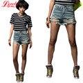 Мода 2016 Лето Женщины Нью-Высокая Талия Джинсовые Шорты Изношены Отверстие Женские Super Cool Flash Шорты Короткие Feminino