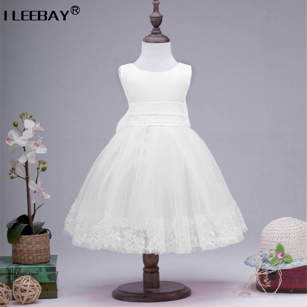 1261655d85e Girls Dress Big Bow Kids Dresses for Wedding Gown White Formal Sleeveless  Tulle Children Birthday Gift