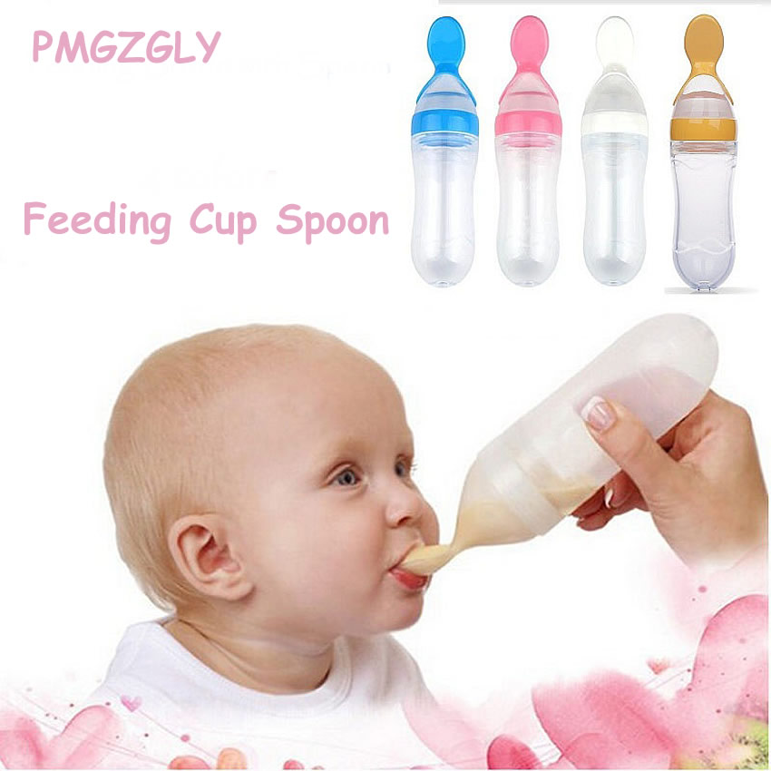 90 ml Babyvoeding Cup Rijstgraan Sap Feeder Lepel Silicone Babyvoeding Fles Pacifier Kids Waterflessen Training Cup