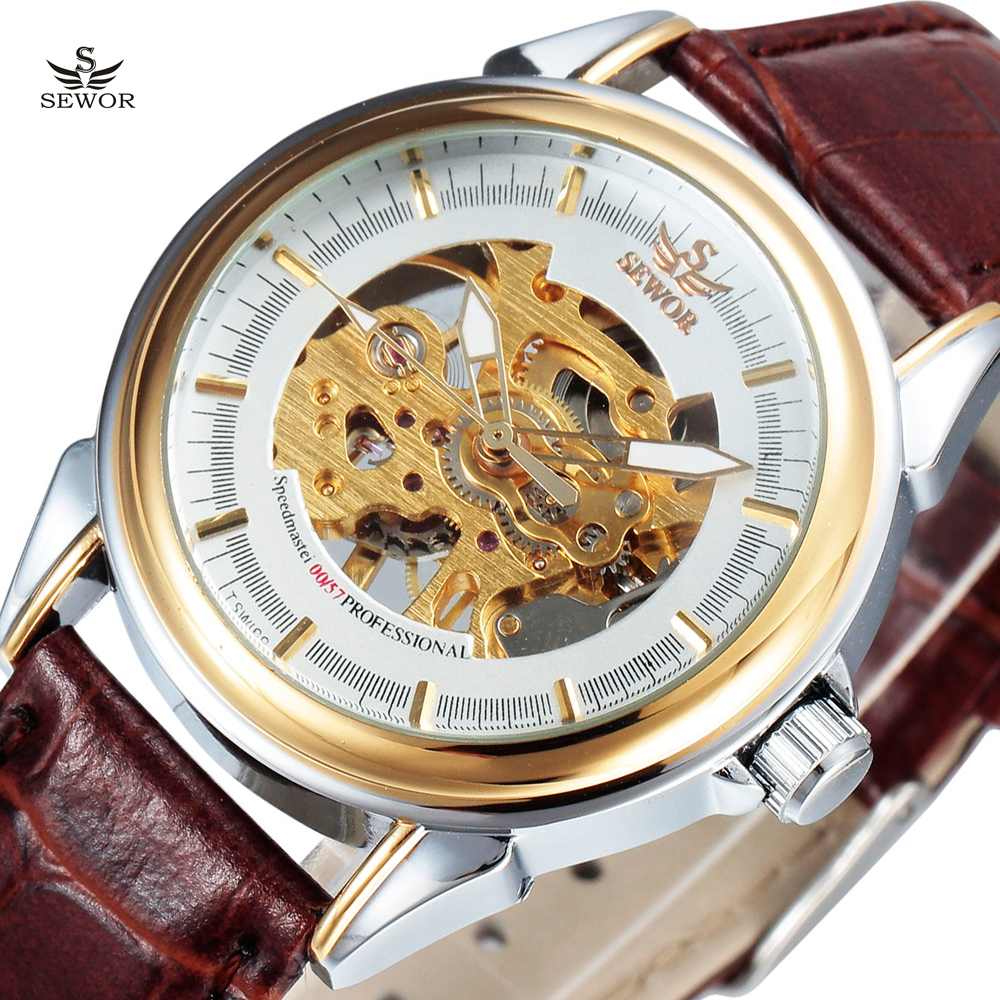 SEWOR Luxury Brand Gold Skeleton Brown Leather Strap Watches Male Fashion Clock Men Mechanical Hand Wind Wrist Watch Relogio fashion men mechanical hand wind watches men skeleton stainless steel wristwatches for male luxury golden watch men