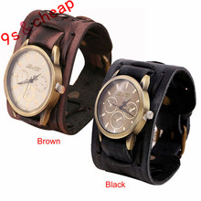 New Style Retro Punk Rock Brown Big Wide Leather Bracelet Cuff Men Watch Cool #3429 Brand New High Quality Luxury Free Shipping