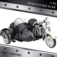 1:18 Scale New Harley 1958 FLH Duo Glide Metal Diecast Model Motorcycle Motorbike Racing Cars Kids Boys Vehicle Collection