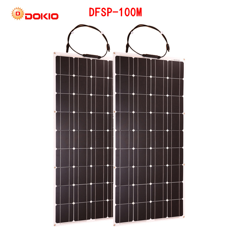 Dokio 2 pcs 100 w Flexible Panneau Solaire Monocristallin Portable 100 w Panneau Solaire Pour Vacances et RV & Bateau hiquality Cellules Solaires En Chine