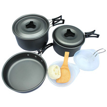 Outdoor Camping Hiking Cookware Backpacking Cooking Picnic Bowl Pot Pan Set for 3-4 person