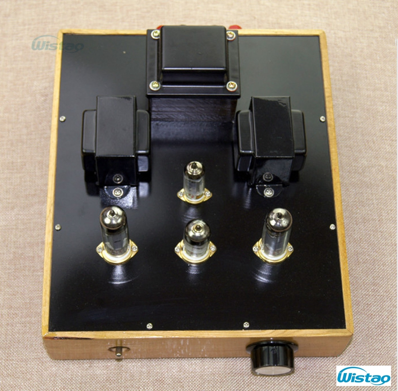 Single ended Tube Amplifier 2X3.5W Class A 6N1 Drive 6P14 Upgrade Version Retro style Willow wood Casing Scaffolding Soldering