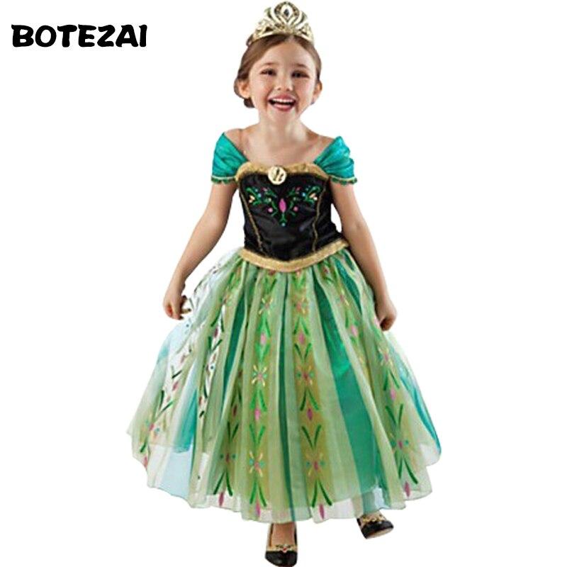 Горячие Лето 2017 г. модные Платье Анны и Эльзы детей Костюмы вечерние платья принцессы с Эльзой и Анной для девочек платья для маленьких девочек