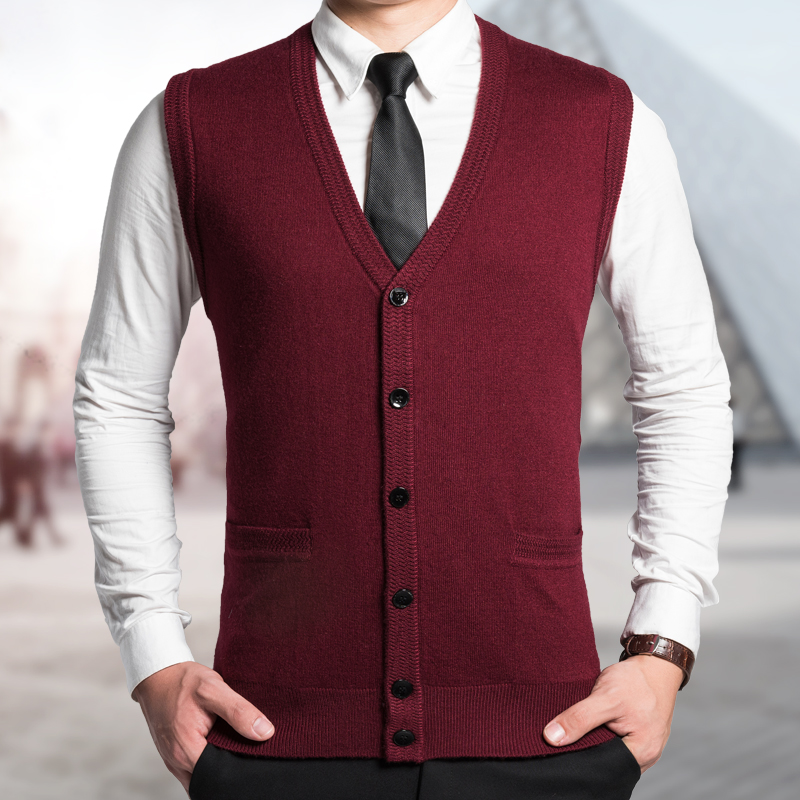 2016 Latest Fashion Men Autumn Sleeveless Solid Color Buttons Up Wool Cardigan Sweater(China (