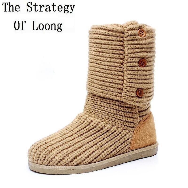 US $22.88 30% OFF|2019 New Arrival Women Winter Flats Fashion Warm Woolen Yarn Mid Half Boots Knitting Wool Yarn Snow Boots Size 35 39 SXQ0905 in