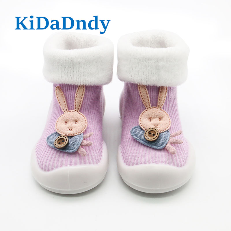 KiDaDndy 2018 New Cute 3D Cartoon Rabbit Baby Warm Socks Soft Rubber Sole Terry Toddler Shoes Baby First Walker Newborn SO511A