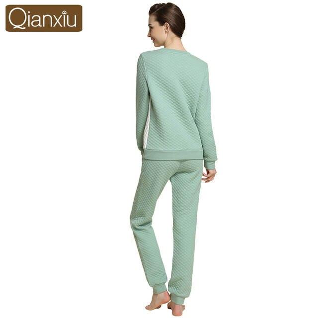 sports shoes 99944 d01ba Frauen Schlafanzug Langarm Winter Baumwolle Pyjamas Pijama Nachtwäsche  Damen Lounge Hemd & Hose camisones de dormir 15521