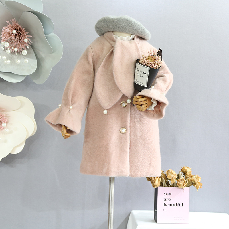 Children's 2018 Autumn and Winter New Girls' Clothes Sweet Big Lapel Single Breasted Medium Long Wool Coat Jacket lapel pea coat in wool blend