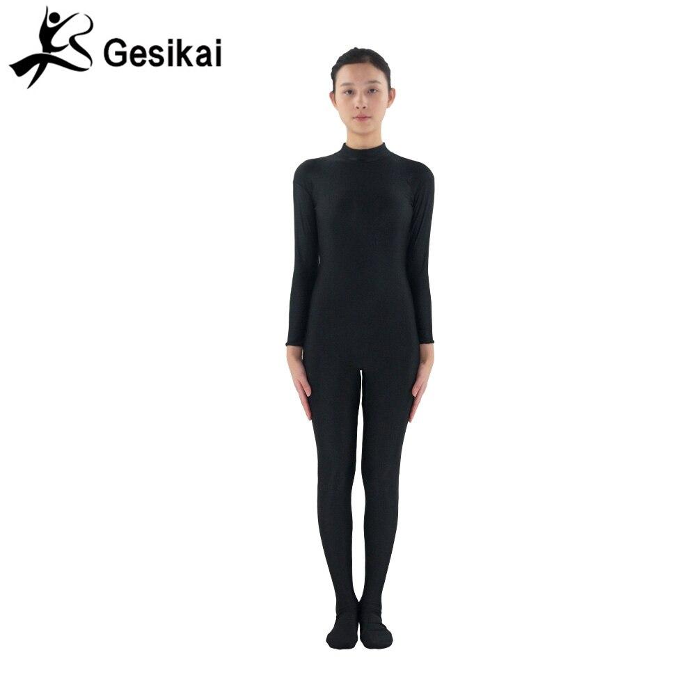 24 tundi tarnitud naistele Unitards mustad pikad varrukad Unitard jalaga keha Naiste jooga Dancewear Fitness ülikonnad