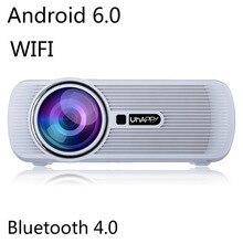 WIFI Android 6.0 Bluetooth Inteligente Proyector 6000 lúmenes 1080 P HD LCD LLEVÓ el Mini Proyector de Vídeo Puerto de Salida de Audio Portátil de Casa teatro