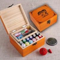 Đa chức năng Hộp Gỗ Sewing Kit Kim Băng Cắt Kéo Chủ Đề May Box Đối Với Trang Chủ & Du Lịch