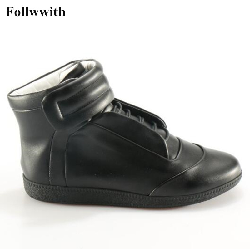 2018 Follwwith Genuine Leather Warm Winter Shoes Man Ankle Boots Hook&Look Flats Martin Botas Free Shipping High Top Casual Shoe plain off the shoulder hollow bikini set