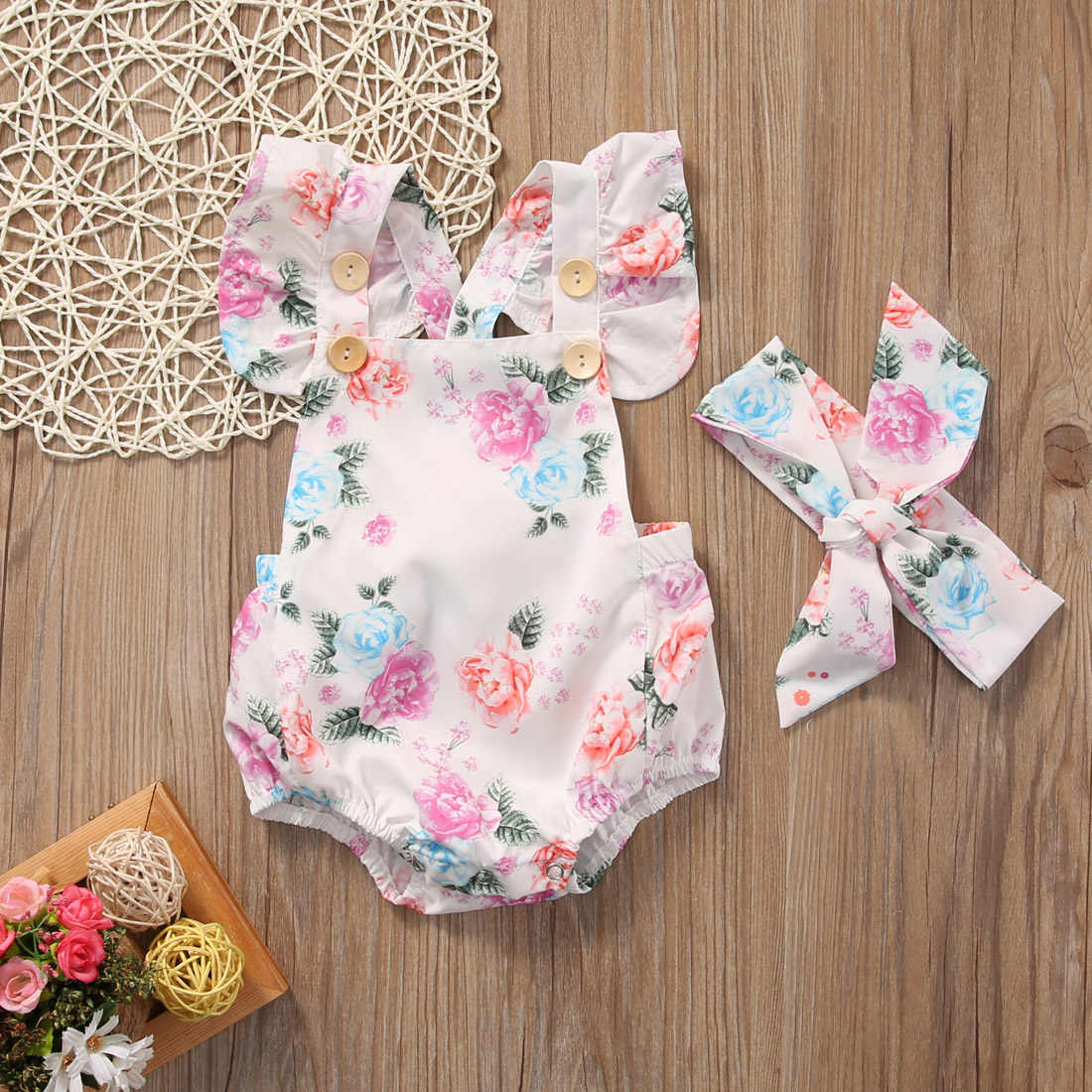 2914d76e393f8 Floral Baby Romper Clothes Set 2017 Summer Newborn Baby Girl Ruffled Sleeve  Bodysuit Jumpsuit + Headband 2pcs Outfit Sunsuit