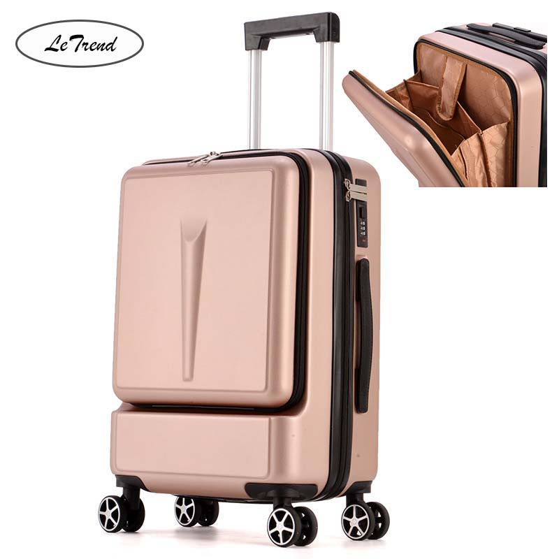 LeTrend 20 Inch Creative Flip Cover Rolling Luggage Spinner Cabin Laptops Trolley Women/men Carry Ons  Business Suitcase Wheels