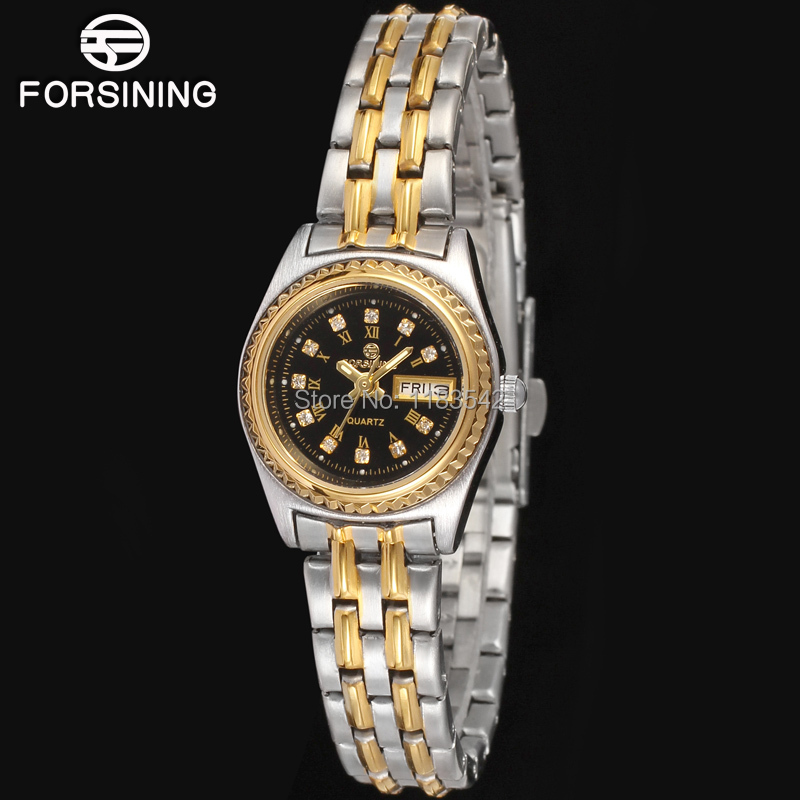 Famous brand FORSINING FSL8016Q4T1 Quartz silver ladies wristwatch stainless steel bracelet best gift shipping free
