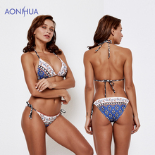 AONIHUA Floral Triangle Bikini Swimming Suit For Women Swimwear Padded Bras Beach Bathing Swim Wear Two Piece Swimsuit