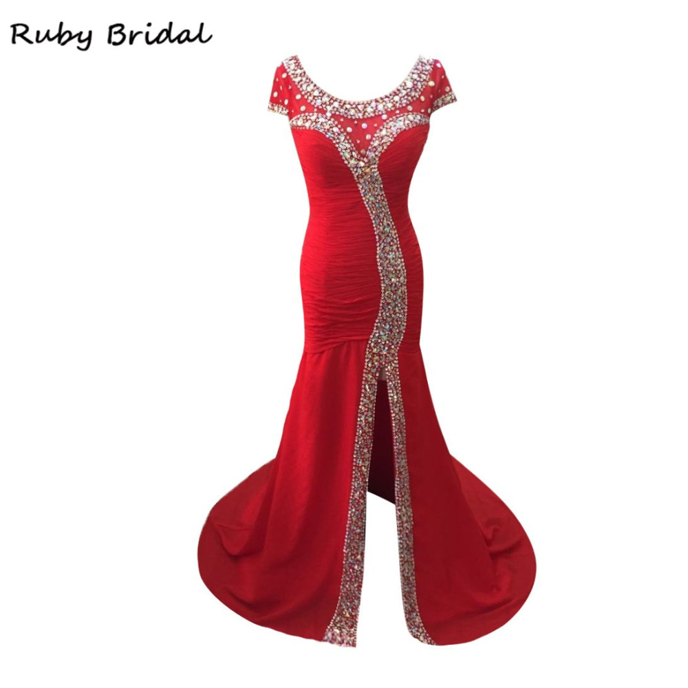 Ruby Bridal Vestido De Festa Long Mermaid Evening Dresses Red Chiffon Pleats Crystals Elegant Cap Sleeves