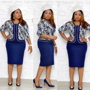 Image 1 - בגדים אפריקאים אלגנטי Bodycon שמלת נשים משרד ליידי 2019 מודפס טלאים חצי שרוול גבוה מותן תחבושת עיפרון שמלת חלוק